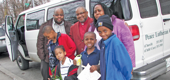 Peace, Kansas City, Mo., has a van to transport area residents to attend church and Bible class.