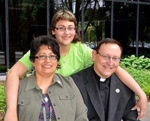 From left, Vicki, Shannon and the Rev. David Riley pose for a family photo during missionary orientation in St. Louis. The Rileys will serve in the Dominican Republic. (LCMS Communications/Frank Kohn)