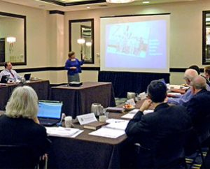 Maggie Karner, director of LCMS Life and Health Ministries, reports on that work during the LCMS Board for National Mission meeting on June 4.  (LCMS Communications/Megan Mertz)
