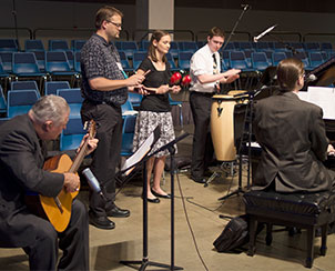 The Rev. Dr. Fred Baue, the Rev. Daniel Torkelson, Laura Kalbfleisch, Nathan McCord and Cantor Philip Magness lead the singing for the Venite during Morning Prayer.