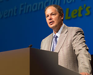 Brad Hewitt, CEO of Thrivent Financial for Lutherans, thanks delegates and guests for enabling Thrivent to give back more than $50 million to LCMS churches and schools during the last two years. (LCMS Communications)