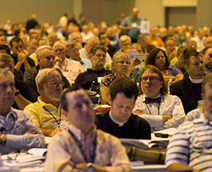 """Delegates adopted three """"omnibus"""" resolutions including a total of more than 60 overtures, covering diverse topics such as the process for calling pastors and holding the next convention in 2017 in honor of the 500th anniversary of the Reformation. (LCMS Communications)"""