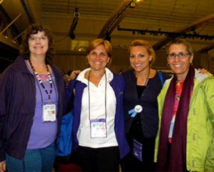 Friends from Baltimore, from left, Teresa Tester, Susan Sohn, Betsy Sohn and Julie Schafer pose for a photo after a performance by singer/songwriter Mia Koehne. The four went on their first mission trip together — to Costa Rica — in summer 2012. Tester and Susan Sohn became friends after meeting at an LWML convention in 2007. (LCMS Communications/Paula Schlueter Ross)
