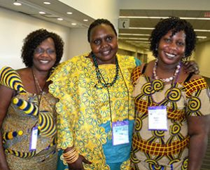 Heart to Heart Sisters, from left, Elizabeth Mayani, Viola Lupai and Suzan Taban — members of Trinity Lutheran Church in Lansing, Mich. — told Reporter they enjoy talking with women from other states and countries at the biennial conventions. (LCMS Communications/Paula Schlueter Ross)