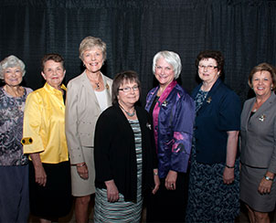 Past presidents of the Lutheran Women's Missionary League (LWML) pose for a photo with current President Kay Kreklau, center, during the LWML convention. From left are Dr. Betty Duda (who served from 1987 to 1991), Ida Mall (1991-95), Dr. Gloria Edwards (1995-99), Janice Wendorf (2007-11), Virginia Von Seggern (1999-2003) and Linda Reiser (2003-07). (Lutheran Women's Missionary League/BBM Photo)