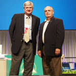 The Rev. Dr. Dean Nadasdy, left, and Dr. Norman Sell are recognized by the convention for their service as former officers of the Synod. (LCMS Communications)