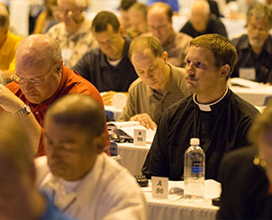 Delegates listen to a presentation during the last business session of the LCMS convention on Thursday, July 25, 2013. (LCMS Communications)