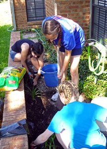 Three young people from Luther Memorial Lutheran Church in Tinton Falls, N.J., work in a resident's garden during a servant event at Patriot Heights Senior Living facility in San Antonio during the 2013 National LCMS Youth Gathering. (LCMS Communications/Megan Mertz)