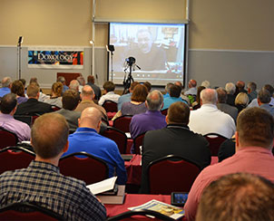 LCMS President Rev. Dr. Matthew C. Harrison joins the conversation via remote video for the Aug. 14-15 DOXOLOGY conference on same-sex marriage and attraction. (LCMS Communications/Adriane Dorr)