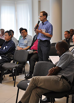 The Rev. Dr. Stephen Hultgren, lecturer in New Testament at Australia Lutheran College in Adelaide, Australia, responds to a presentation at the 2013 World Seminary Conference in Palanga, Lithuania. (LCMS Communications/Amanda Booth)