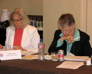 LCMS Board for National Mission (BNM) members Martha Milas, left, and Linda Stoterau listen to a presentation during the BNM meeting Sept. 12-13 in St. Louis. Stoterau was elected as the board's secretary. (LCMS Communications/Melanie Ave)