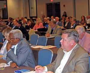 Attendees at the LCMS President's Leadership Meeting listen to a panel discussion on challenges and opportunities for the future. (Juan Gonzalez)