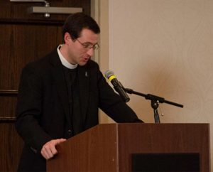 """""""At 9:30 on December 14, everything changed except the hope we have been given in Jesus,"""" said the Rev. Rob Morris, whose community was rocked by the shootings at Sandy Hook Elementary School, Newtown, Conn., that killed six staff members and 20 first-graders. Morris, pastor at Christ the King Lutheran Church in Newtown, spoke at the banquet and informally during the conference. (LCMS Communications/Amanda Booth)"""