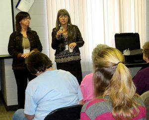 """Jenny Farrell, left, and Lindi Kernan lead a workshop on """"Life After Abortion"""" during the Lutherans For Life conference in Urbandale, Iowa. Kernan shared the story of her own abortion at age 17 and the healing she found through Bible study some 35 years later. (LCMS Communications/Paula Schlueter Ross)"""