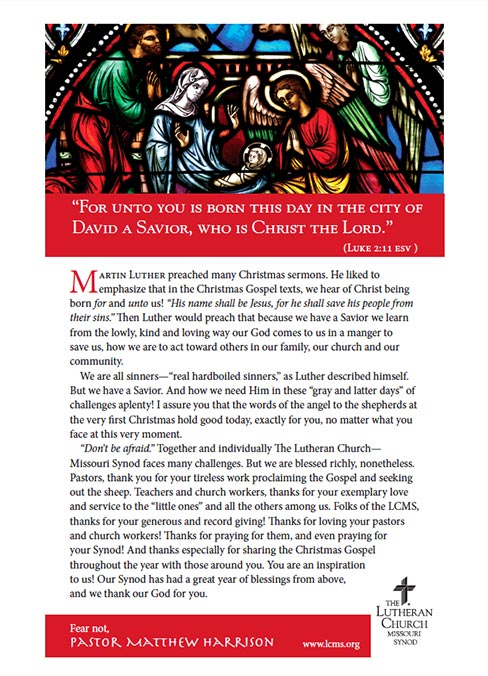 2020 Lcms Harrison Christmas Message Harrison shares Christmas message of hope, thanks