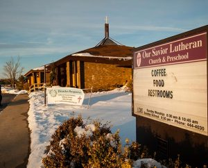"As displayed on its sign Dec. 18, 2013, Our Savior Lutheran Church in Washington, Ill., offers ""coffee, food [and] restrooms"" to passersby. LCMS Disaster Response gave Our Savior a $5,000 grant to replace carpeting damaged when the church opened its doors to the community to offer refreshments to those involved in cleanup efforts following the Nov. 17 tornadoes. (LCMS Communications/Erik M. Lunsford)"
