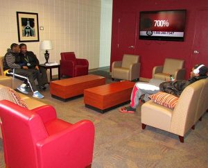 "Concordia College Alabama students enjoy the refurbished lounge in the Kreft Campus Center — one result of the school's ""A Time to Build"" campaign that has raised nearly $13 million for academic programs, capital projects and scholarships. (Concordia College Alabama/Christine Weerts)"