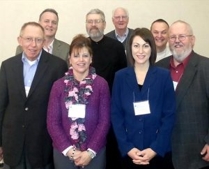 Members of the board of directors of the Association of Lutheran Mission Agencies are, from left, the Rev. Ken Reiner, operations manager; the Rev. James Tino, president; Chris Myers, first vice-president; the Rev. Jeff Thormodson, treasurer; Harold Rau, webmaster; Carly Hatcher, second vice-president; the Rev. Miguel Torneire, ethnic ministry liaison; and the Rev. Alan Scott, secretary. (Association of Lutheran Mission Agencies)
