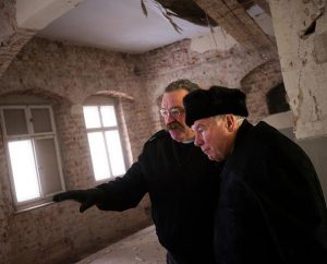 LCMS President Rev. Dr . Matthew C. Harrison tours the Old Latin School renovation with Rev. Dr. Jobst Schöne, bishop emeritus of the Independent Evangelical Lutheran Church (SELK) of Germany, on Jan. 29, 2014, in Wittenberg, Germany. (LCMS Communications/Erik M. Lunsford)