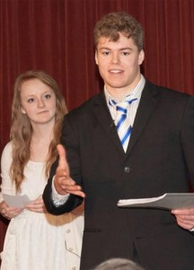 Sarah Bowe and Collin Christiansen deliver their campaign presentation as members of the Concordia University Nebraska, Seward, team. Jessy Sweet and Andrew Malan, not pictured, also served with the group. (Lutheran Church Extension Fund)