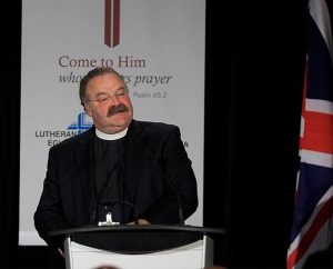 LCMS President Rev. Dr. Matthew C. Harrison brings greetings on behalf of The Lutheran Church—Missouri Synod to the 2014 Lutheran Church—Canada convention. (Gabor Gasztonyi)