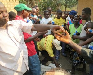 Hygiene supplies are distributed to villagers in Guinea, with the hope of preventing the spread of the deadly Ebola virus. The LCMS has approved grants totaling $67,729 to fight the disease in Guinea, Liberia and Sierra Leone. (Photo: Evangelical Lutheran Church of Guinea)