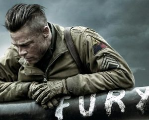 "Brad Pitt stars as Sergeant Don ""War-Daddy"" Collier, commander of the five-man crew of a Sherman tank dubbed ""Fury"" in World War II . The film provides ""a sober look at war, honestly considering both the soldier and the vocation of soldier,"" writes reviewer Rev. Ted Giese."