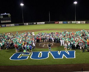Conference participants pray Evening Prayer July 9 after a baseball game at Concordia University Wisconsin, in Mequon, Wis.