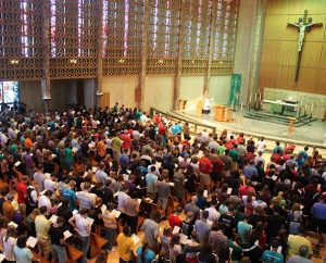 More than 1,200 Higher Things conference participants fill the chapel for worship at Concordia University Wisconsin, Mequon.