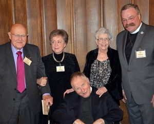 LCMS President Rev. Dr. Matthew C. Harrison, right, recognizes the Rev. Dr. Ronald R. Feuerhahn of St. Louis, center, who received Concordia Historical Institute's highest award, the Distinguished Service Award, during the institute's awards event Nov. 6. Also pictured, left to right, are Feuerhahn's brother and sister in-law, Harold and Helen Feuerhahn, and his wife, Carol. (Concordia Historical Institute)