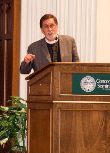 """The Rev. William M. Cwirla, senior pastor of Holy Trinity Lutheran Church in Hacienda Heights, Calif., gives a presentation called """"Be Fruitful and Multiply: Fertility Ethics Viewed in the Light of Creation and Redemption"""" during the Nov. 8 Infertility Ethics Symposium at Concordia Seminary, St. Louis. (LCMS/Melanie Ave)"""