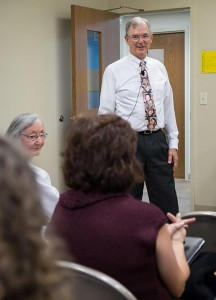The Rev. Dr. James Lamb talks with participants in his workshop on miscarriage and stillbirth during the 2014 Lutherans For Life Conference. (Michael Schuermann)