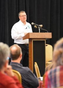 """The Rev. Dr. Lawrence R. Rast Jr., president of Concordia Theological Seminary, Fort Wayne, Ind., reminds LCMS Rural and Small-Town Mission conference attendees that """"The Church, in the end, is Christ's."""" (LCMS/Adriane Heins)"""