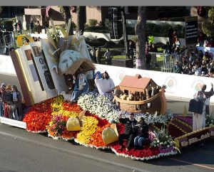The 2015 Rose Parade float sponsored by Lutheran Hour Ministries — the only Christian-themed entry among 37 floats in the Jan. 1 parade in Pasadena, Calif. — featured an open Bible with depictions of the Nativity, Moses, Noah's ark and the Baptism of Jesus. (Lutheran Hour Ministries)