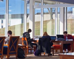 Concordia Theological Seminary students make use of the additional space offered by the Wayne and Barbara Kroemer Library on the seminary's campus in Fort Wayne, Ind. A recently completed expansion increased the size of the library from 15,000 to 63,000 square feet. (Concordia Theological Seminary)