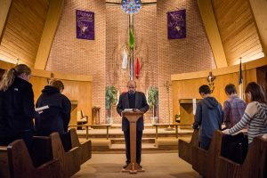 The Rev. Matthew Wietfeldt, associate pastor of Trinity Lutheran Church, Nashville, Ill., leads morning prayer with students from Trinity-St. John Lutheran School Jan. 7 in Nashville. Wietfeldt urges all to pray after the Jan. 2 plane crash that took the lives of four Nashville family members. The funeral for three of them was set for Jan. 9 at Trinity. (LCMS/Erik M. Lunsford)