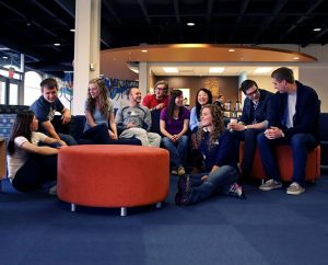 """Students spend time in the renovated Janzow Campus Center at Concordia University, Nebraska. Renovations were made possible through gifts provided to the university during its """"Blessed to be a Blessing"""" campaign. (Concordia University, Nebraska)"""