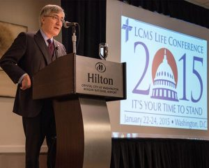 Robert George, a professor at Princeton University, addresses participants in the 2015 LCMS Life Conference Friday, Jan. 23, 2015, at the Hilton in Crystal City, Va. (LCMS/Erik M. Lunsford)