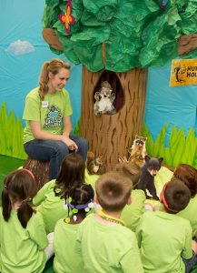 """Children take part in the """"Camp Discovery"""" vacation Bible school at """"Nutty Hollow"""" with Chester the Squirrel. (Concordia Publishing House)"""