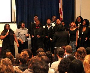 The Concordia College Alabama choir shares Gospel music and spirituals in worship on campus during the college's March 1-8 Civil Rights Symposium in Selma. (Concordia College Alabama/Nate Pinkston)