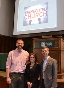 """Stephanie Hammond, former U.S. Congress policy adviser and director of the International Religious Freedom Caucus, poses for a photo with, from left, Tom Schlund, Student Association president at Concordia Seminary, and the Rev. Dr. Jeffrey Kloha, professor of Exegetical Theology at the seminary, after her March 11 presentation on """"Global Christian Cleansing: Rising Religious Persecution and What You Should Know."""" (Concordia Seminary/Tiffany Leong)"""