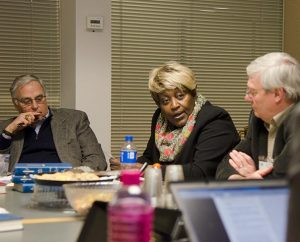 From left, the Rev. David J. Vaughn, business owner Pat Woods-Quinn and Bill Lapp of LCMS Mission Advancement take part in an urban-mission roundtable Feb. 20 at the Synod's International Center in St. Louis. (LCMS/Frank Kohn)