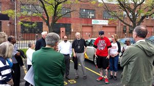 A group from the LCMS Southeastern District assembles to pray before joining a May 2 rally and march for peace in Baltimore. (Tina Jasion)