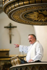 LCMS President Rev. Dr. Matthew C. Harrison preaches during the Festival Dedication Service at the Town and Parish Church of St. Mary's before the dedication of the International Lutheran Center at the Old Latin School in Wittenberg. (LCMS/Erik M. Lunsford)