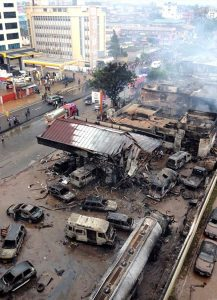 This demolished gas station is the site of a large explosion in Accra, Ghana, the evening of June 3, caused when floodwaters brought leaking gasoline into contact with a nearby fire. (Evangelical Lutheran Church of Ghana/Jacob Fynn)