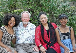 """The Rev. Dr. Ardon Albrecht — who wrote, produced and directed the new docudrama """"The First Rosa: Teacher, Confessor, Church Planter"""" — poses for a photo with the three actresses who portrayed Rosa Young in the film. From left are Jasmine Gatewood, Yvette Jones-Smedley and Jordan Alexis Donegan. (Meredith Jackson)"""