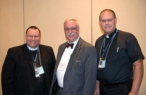 : Re-elected officers of the LCMS Central Illinois District are, from left, Second Vice-President Rev. Kent Tibben, President Rev. Mark A. Miller and First Vice-President Rev. Daniel Bishop. (Jim Deverman)