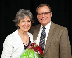 LCMS Michigan District President Rev. Dr. P.E. Maier poses for a photo with his wife, Patricia, after his re-election. (Elisa Schulz)