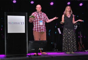 Emcees Rev. Jeffrey Meinz and Director of Christian Education Leah Abel facilitate group discussion during one of the NATIONAL15 plenary sessions — as they did for all four sessions. (Seth Hinz)