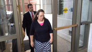 Rowan County Clerk Kim Davis appears at the Federal Courthouse in Covington, Ky. (Mike Wynn/The Courier-Journal, Louisville, Ky.)